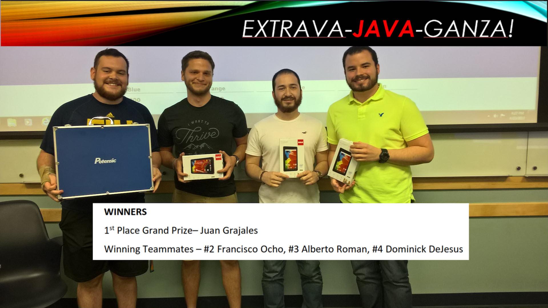Extrava Java Ganza winners poster