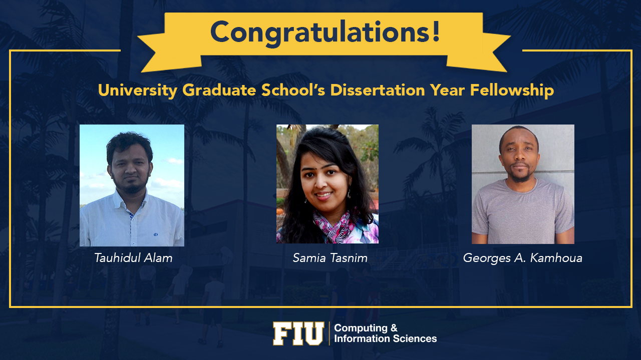 Flyer of the three PH.D. Dissertation Year Fellows