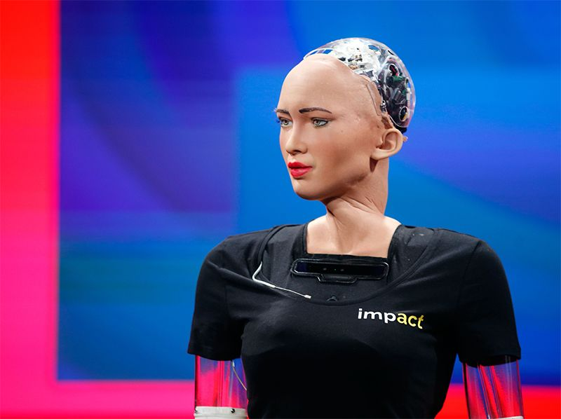A humanoid robot called Sophia. An artificial-intelligence conference has been accused of having a discriminatory culture.Credit: Tomasz Wiech/AFP/Getty