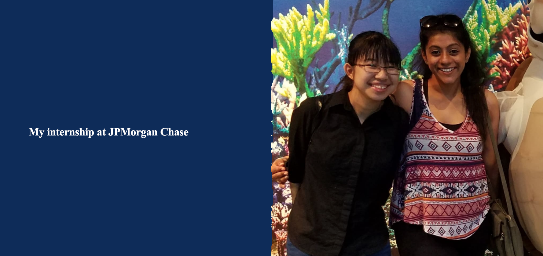 Image of Shanna Sit, a computer science major, with one of her team members at her internship at JPMorgan Chase